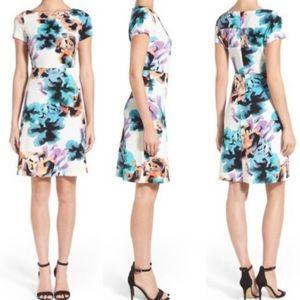 Ivanka Trump Floral Watercolor Cap Sleeve Dress